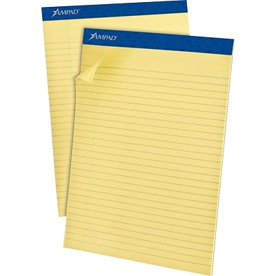 Ampad® Evidence® Ruled Pad 8-1/2x11-3/4, Legal Ruling, Canary, 50 Sheets/Pad, Recycled
