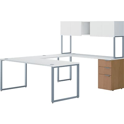 HON VOI® Bundle Solutions Contemporary U-Station Desk, Harvest/Silver Mesh, 72 x 92
