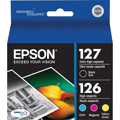Epson 127/126 Black, Cyan, Magenta, and Yellow Ink Cartridges, Extra High Yield Black, High Yield Colors, 4/Pack (T127120-BCS)