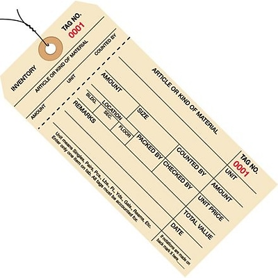 (2000-2999) Inventory Tags 1; 6 1/4 x 3 1/8, Part Stub Style #8, Pre-Wired, 1, 000/Case