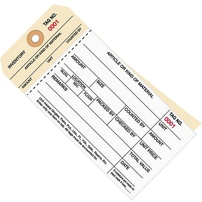 Staples - 6 1/4 x 3 1/8 - (4000-4499) Inventory Tag 2 Part Carbonless Stub Style #8, 500/Case