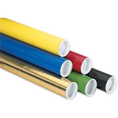 2 x 9 -  Black Mailing Tube with Cap, 50/Case
