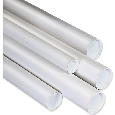 2 1/2 x 26 -  White Mailing Tubes with Cap, 34/Case
