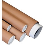 2 x 25 -  Kraft Mailing Tube with Caps, 50/Case