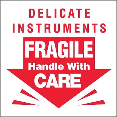 Tape Logic® Labels, Delicate Instruments - Fragile, 3 x 3, Red/White, 500/Roll