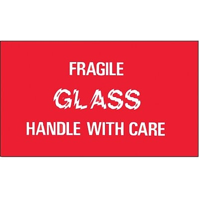 Tape Logic® Labels, Fragile - Glass - Handle With Care, 3 x 5, Red/White, 500/Roll