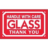 Tape Logic Glass - Handle With Care Thank You Shipping Label, 3 x 5, 500/Roll