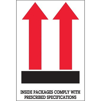 Tape Logic® Labels, Inside Packages Comply , Arrow, 4 x 6, Red/White/Black, 500/Roll (DL1480)