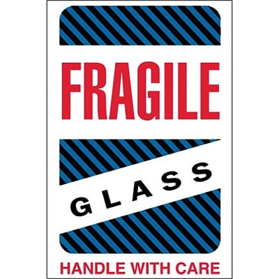 Tape Logic Fragile - Glass - Handle With Care Shipping Label, 4 x 6, 500/Roll