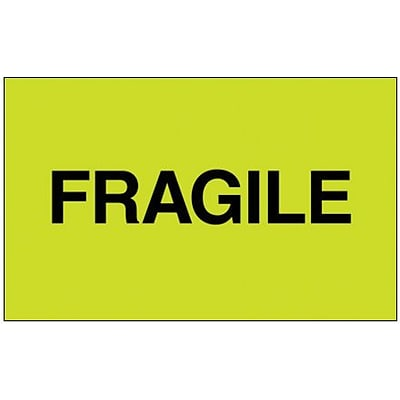 Tape Logic® Labels, Fragile, 3 x 5, Fluorescent Green, 500/Roll