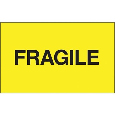 Tape Logic® Labels, Fragile, Fluorescent Yellow, 3 x 5, 500/Roll