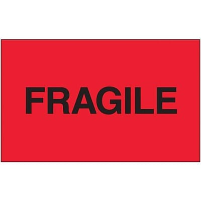 Tape Logic® Labels, Fragile, Fluorescent Red, 3 x 5, 500/Roll