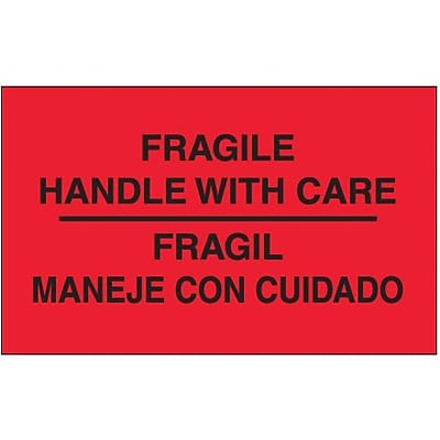 Tape Logic Fragile - Handle With Care Shipping Label Bilingual, 3 x 5, 500/Roll