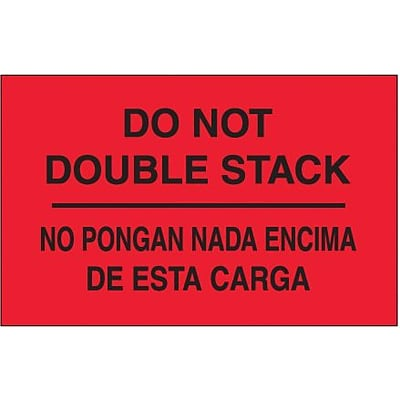 Tape Logic Do Not Double Stack Shipping Label Bilingual, 3 x 5, 500/Roll