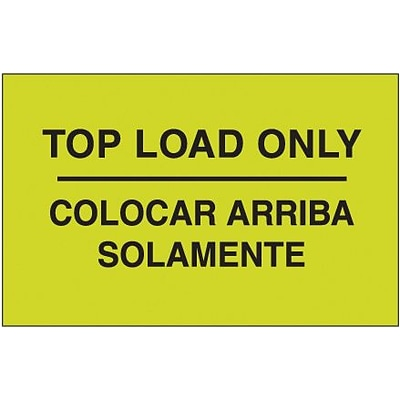 Tape Logic® Bilingual Labels, Colocar Arriba Solamente, 3 x 5, Fluorescent Green, 500/Roll