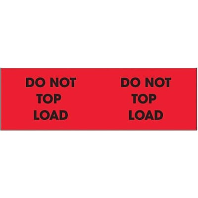 Tape Logic® Labels, Do Not Top Load, 3 x 10, Fluorescent Red, 500/Roll