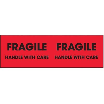 Tape Logic® Labels, Fragile - Handle With Care, 3 x 10, Fluorescent Red, 500/Roll