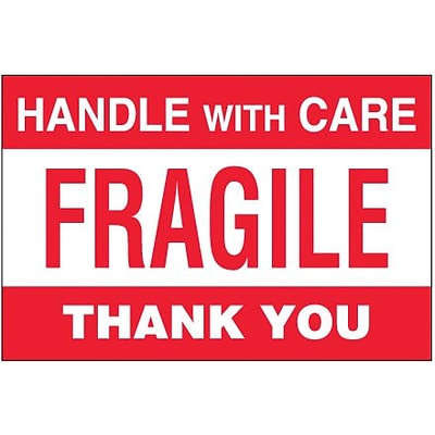 Tape Logic Fragile - Handle With Care Thank You Shipping Label, 4 x 6, 500/Roll