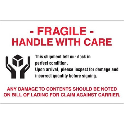 Tape Logic Labels, Fragile - Handle With Care, 4 x 6, Red/White/Black, 500/Roll