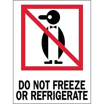 Tape Logic® Labels, Do Not Freeze or Refrigerate, 3 x 4, Red/White/Black, 500/Roll