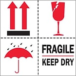 Tape Logic Fragile - Keep Dry Tape Logic Shipping Label, 4 x 4, 500/Roll