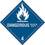 4x4 Dangerous When Wet - 4 Shipping Label