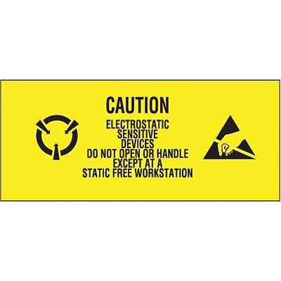 Tape Logic® Labels, Electrostatic Sensitive Devices, 1 x 2 1/2, Black/Yellow, 500/Roll