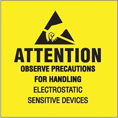 Tape Logic® Labels, Attention - Observe Precautions, 4 x 4, Black/Yellow, 500/Roll