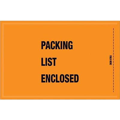 Packing List Envelope, 5 1/4 x 8 - Mil-Spec Orange Full Face Packing List Enclosed, 1000/Case