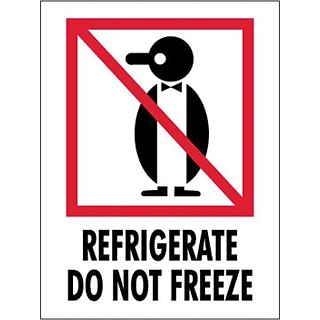 Refrigerate - Do Not Freeze Shipping Label