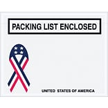 Packing List Envelope, 7 x 5 1/2 - U.S.A. Ribbon Panel Face, Packing List Enclosed, 1000/Case
