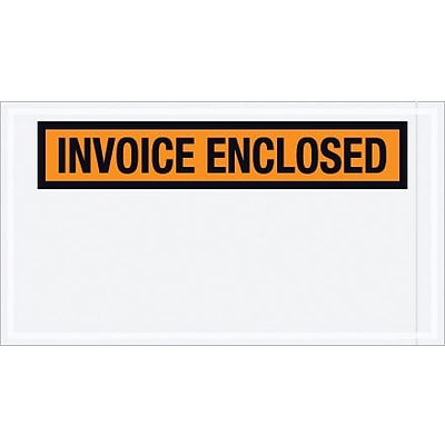 Packing List Envelope, 5 1/2 x 10 Orange Panel Face Invoice Enclosed, 1000/Case