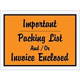 Packing List Envelope, 4 1/2 x 6 - Orange Full Face, Important Packing list and/or Invoice Enclosed, 1000/Case