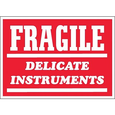 Tape Logic® Labels, Fragile - Delicate Instruments, 3 x 4, Red/White, 500/Roll