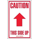 Tape Logic® Labels, Caution - This Side Up, Arrow, 3 x 5, Red/White, 500/Roll