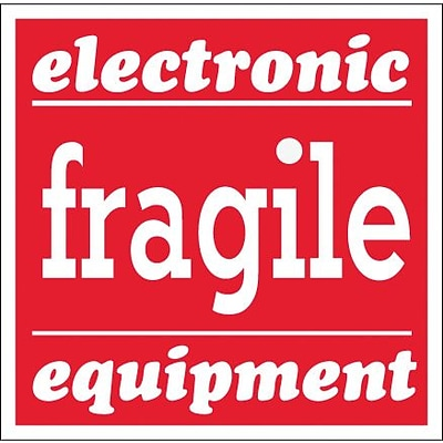 Tape Logic® Labels, Fragile - Electronic Equipment, 4 x 4, Red/White, 500/Roll