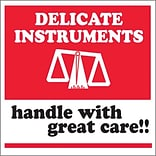 Tape Logic® Labels, Delicate Instruments - HWC, 4 x 4, Red/White/Black, 500/Roll