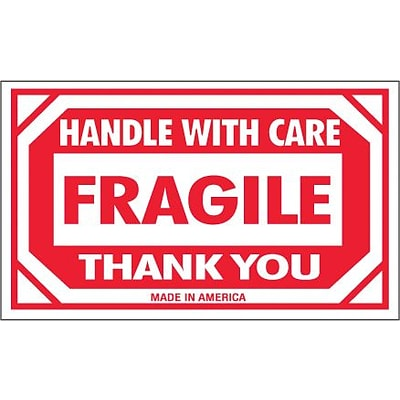 Tape Logic® Labels, Fragile - Handle With Care, 3 x 5, Red/White, 500/Roll (SCL576)