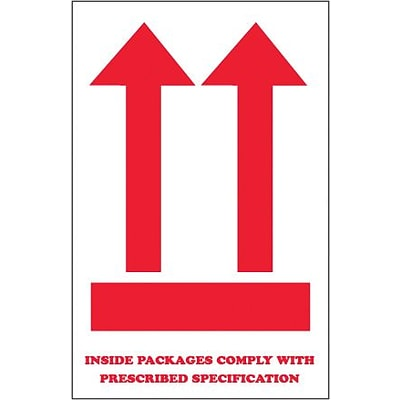 Tape Logic Inside Packages Comply... (Two Red Arrow Over Red Bar) Shipping Label, 4 x 6, 500/Roll