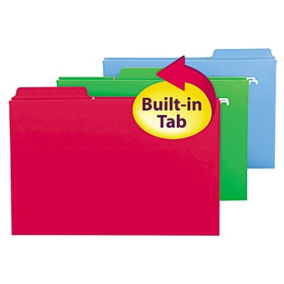 Smead FasTab 3-Tab Colored Hanging File Folders, Legal, Assorted, 18/Bx (64153)