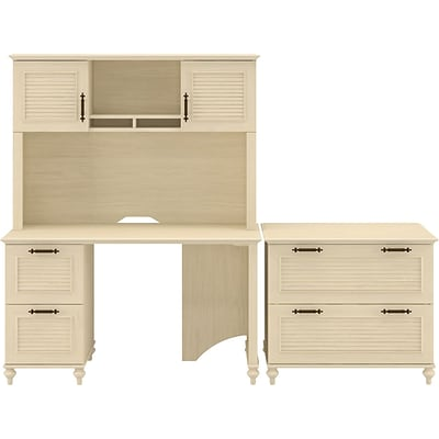 Kathy Ireland Volcano Dusk by Bush Furniture Small Office Suite w/ Desk & File Dwrs, Antique White