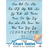 Pacon Cursive Cover Chart Tablet, 24 x 32, 1 Ruled Writing Paper, Assorted Colors, 25 Sheets (PAC