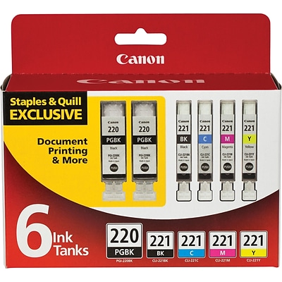 Canon® 220/221 Ink Tank Value Pack, Multi-pack (6 cart per pack), Black and Color