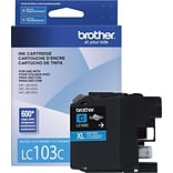 Brother LC 103 Cyan Ink Cartridge, High Yield (LC103C)