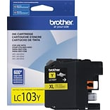 Brother LC 103 Yellow Ink Cartridge, High Yield (LC103Y)
