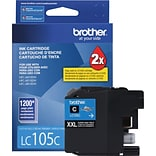 Brother LC105 Cyan Ink Cartridge (LC105C); Super High Yield