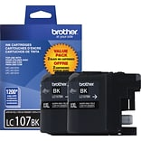 Brother® LC107BK Black Super High-Yield Ink Cartridges Multi-pack (2 cart per pack)