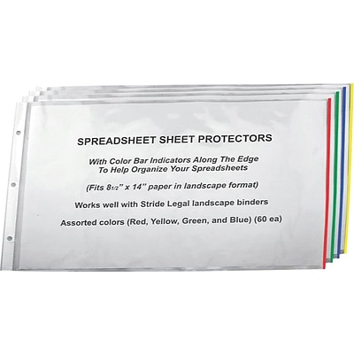 Stride® Color Bar Sheet Protectors, 8-1/2 x 14, Landscape, 60/Box