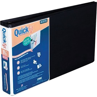 Stride® QuickFit® 1-1/2 Round-Ring Spreadsheet View Binder, Landscape Oriented, Black, For 8-1/2x14