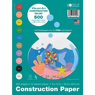 Roselle Vibrant Art Construction Paper, Assorted, 9 x 12, 500 Sheets (01500)